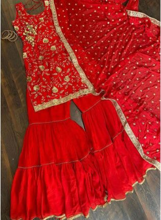 Rosy Red Georgette Sharara Salwar Suit