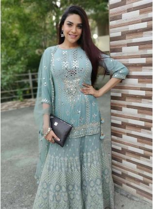 Splendid Blue Georgette Sharara Salwar Suit