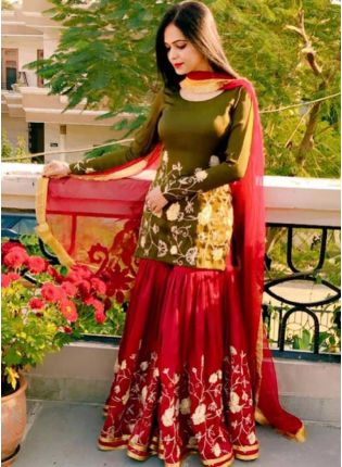 Delightful Green Georgete Sharara Suit