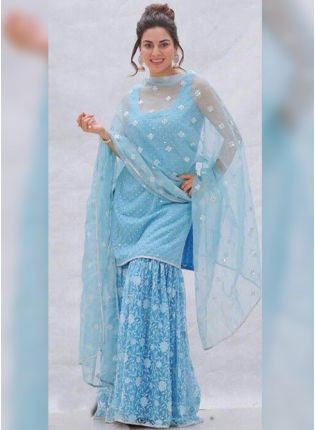 Incredible Blue Georgette Sharara Salwar Suit