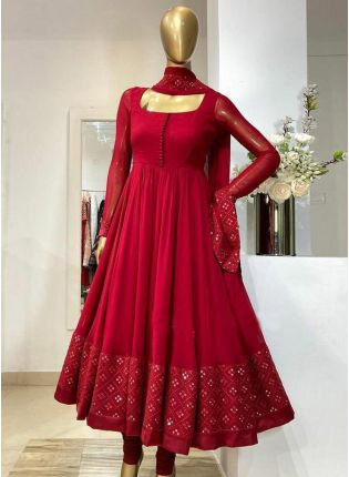 Ravishing look Red Color Georgette Base With Embroidery Work Designer Gown