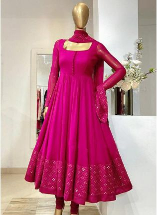 Ravishing look Pink Color Georgette Base With Embroidery Work Designer Gown