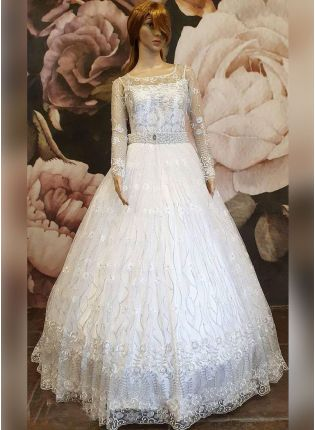 White Color Net Base Party Wear Princess Look Gown With Beautiful Belt