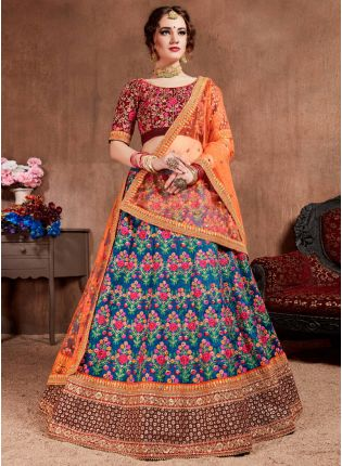 Majestic Navy Blue Silk Base Embroidered Flared Trendy Lehenga Choli