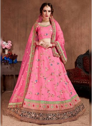 Spectacular Light Pink Art Silk Base Embroidered Trendy Lehenga Choli