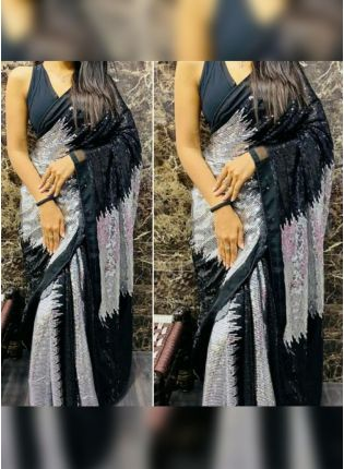 Party-Wear Grey Georgette Saree With Sequins Work
