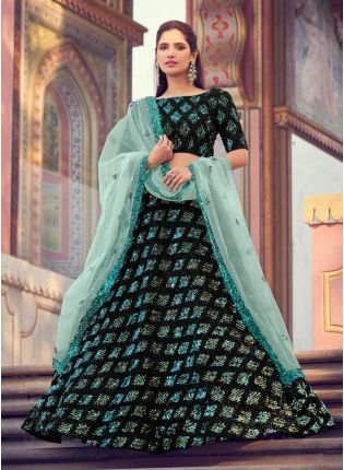 Eye-catching Black Color Lehenga Choli With Turquoise Color Dupatta Set