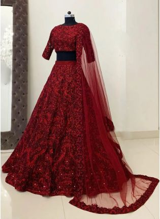 Stylish Maroon Resham Work Detailed Lehenga Choli