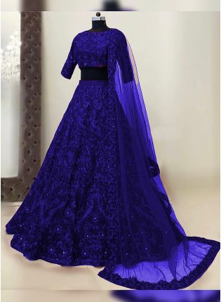 Splendid Persian Blue Resham Work Detailed Lehenga Choli