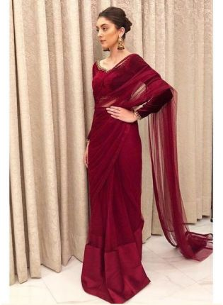 Glamorous Maroon Color Soft Net Bollywood Saree