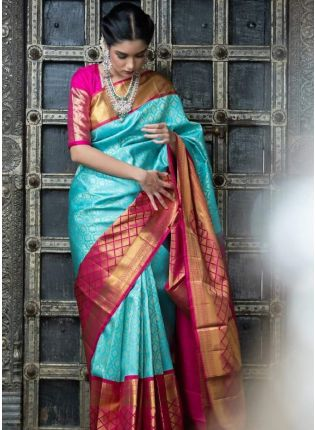 Turquoise Blue Wedding Saree With Silk Weave Details