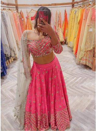 Sophisticated pink color wedding wear lehenga choli