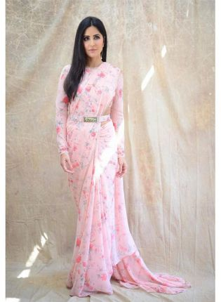 Baby Pink Color Georgette Base Party Wear Designer Digital Printed Saree