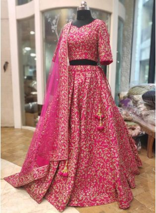 Pink Silk Lace and Dori Lehenga Choli