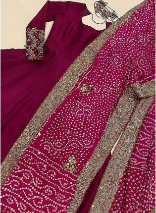 Pink Zari Sequins And Silk Gown