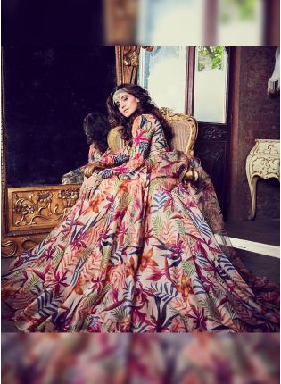 Multi Color Digital Print Tafetta Silk Designer Ceremonial Gown