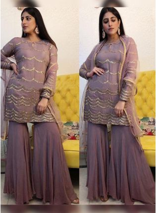 Purple Sequin Velvet Soft Net Sharara Salwar Suit