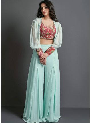 Beautiful Sea Green Color Bollywood Style Palazzo Suit