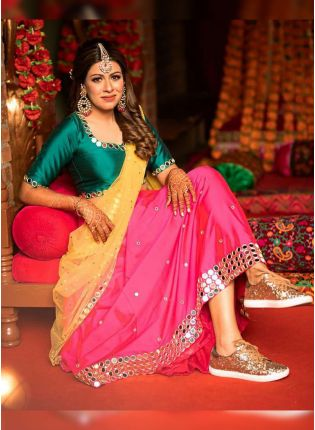 Hot Pink Mirrorwork Zari Tafetta Silk Panelled Lehenga Choli