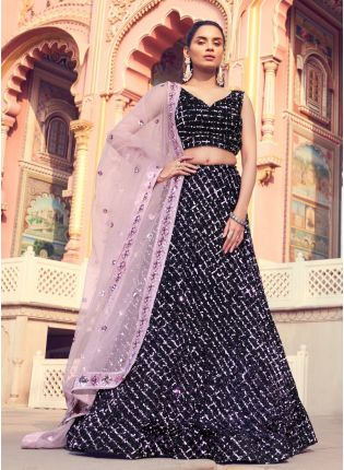 Divine Look Black Color Lehenga Choli With Matching Blouse