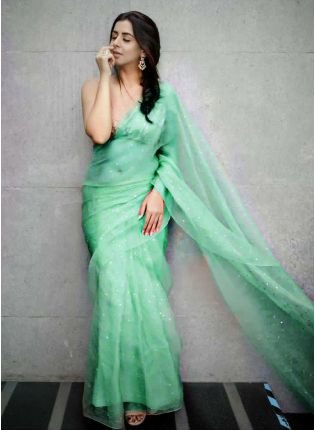 Festive Look  Green Color Organza Saree with Silk Waving