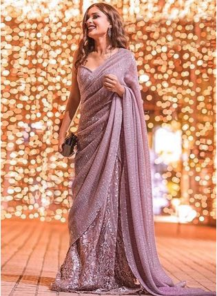 Onion Pink Georgette Half N Half Embroidered Saree