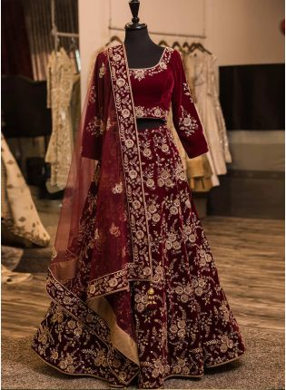 Dark Maroon Color Wedding Wear Designer Heavy Embroidery Work Lehenga Choli