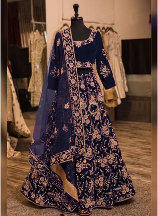 Navy Blue Color Wedding Wera Designer Heavy Embroidery Work Lehenga Choli