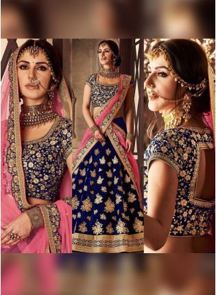 Navy Blue Color Heavy Embroidered Wedding Wear Lehenga Choli