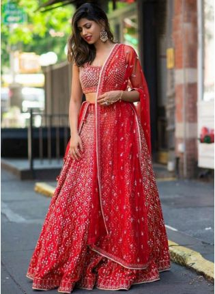 Fabulous Red Color Stylish Embroidered Lehenga Choli