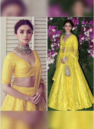 Yellow Color Wedding Wear Designer Heavy Embroidered Lehenga Choli