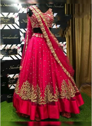 Phenomenal Hot Pink Zari Embroidery Lehenga Choli For Ceremony