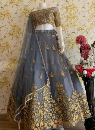 Modish Cloudy Grey Soft Net Base Embroidered Lehenga Choli