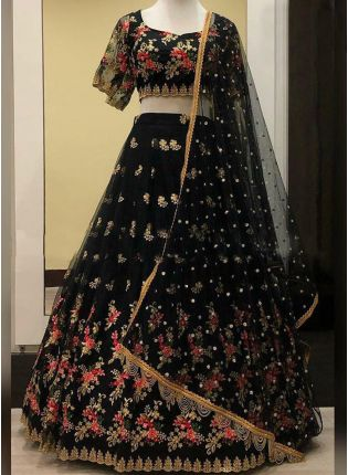 Fantastic Black Soft Net Base Embroidered Designer Lehenga Choli