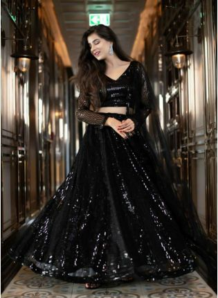Unbeatable Black Soft Net Base Sequin Work Lehenga Choli