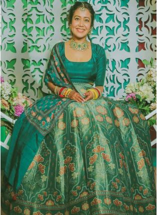Phenomenal Rama Green Satin Base Digital Printed Lehenga Choli