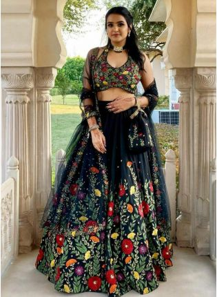 Spectacular Black Digital Printed Silk Lehenga Choli Set