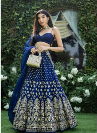 Astonishing Navy Blue Zari Tafetta Silk Lehenga Choli Set