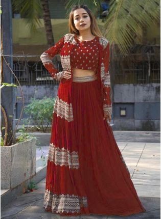 Exquisite Red Color Jacket Style Lehenga