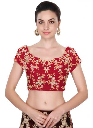 Red Cape Sleeves Applique Work Blouse