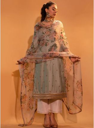 Modish Cloud Grey Silk Base Beautiful Palazzo Salwar Suit