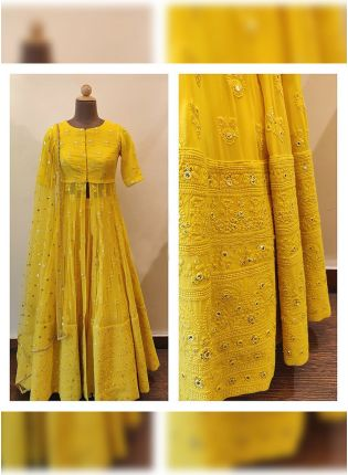 Fantastic Pineapple Yellow Lehenga with Jacket Style Choli