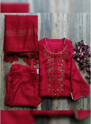 Mind-blowing Cherry Red Cotton Silk Pant Style Suit With Zari Work