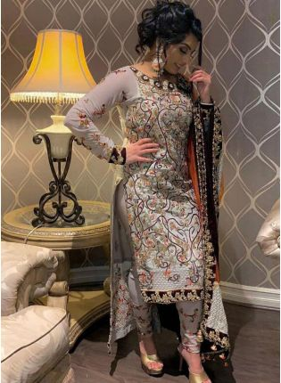 Remarkable Cloudy Grey Georgette Base Resham Work Salwar Kameez