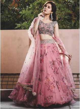 Designer Pink Color Wedding Wear Organza Printed Floral Lehenga Choli