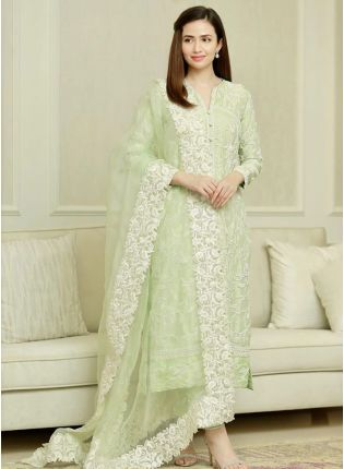Adorable Light Pista Green Cotton Base Festive Wear Pant Style Suit
