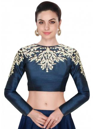 Blue Embroidered  Designer Raw Silk Long Sleeves Blouse