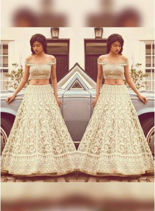 Remarkable Beige Color Georgette Base Lakhnavi Work Lehenga Choli