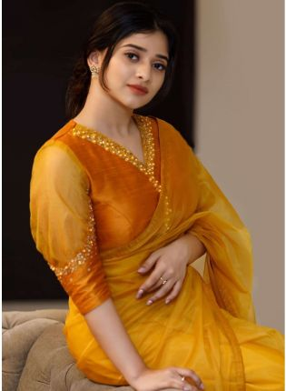 Yellow Hand Work Gotta Work Bollywood Saree With Matching Blouse