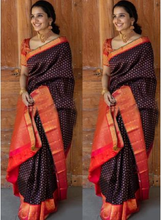 Exquisite Brown Bollywood Saree With Silk Weave Details